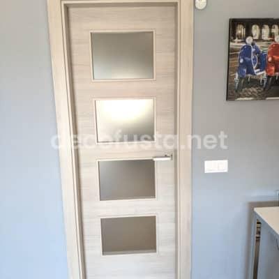 Puerta laminada vidriera roble gris