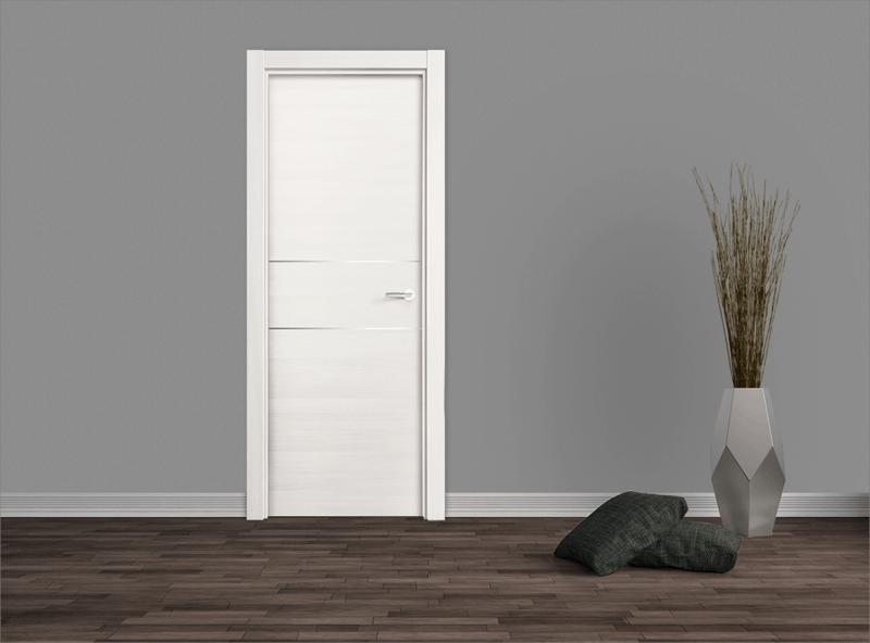 Puerta laminada fresno eslovenia con dos ranuras aluminio