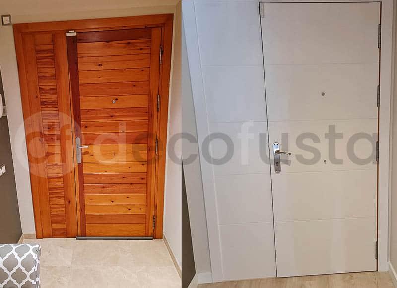 Plafonado de puerta de entrada antes y despues