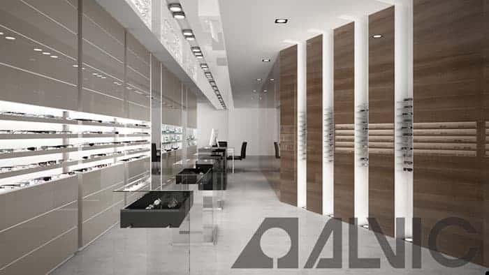 Óptica con mostradores y panelado Luxe de Alvic