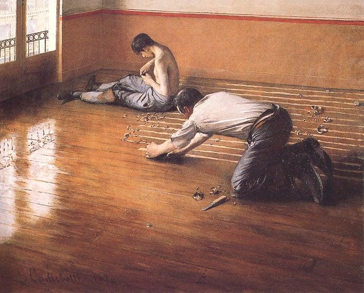Cuadro de parquetistas de Gustave_Caillebotte Floor scrapers_(1876)