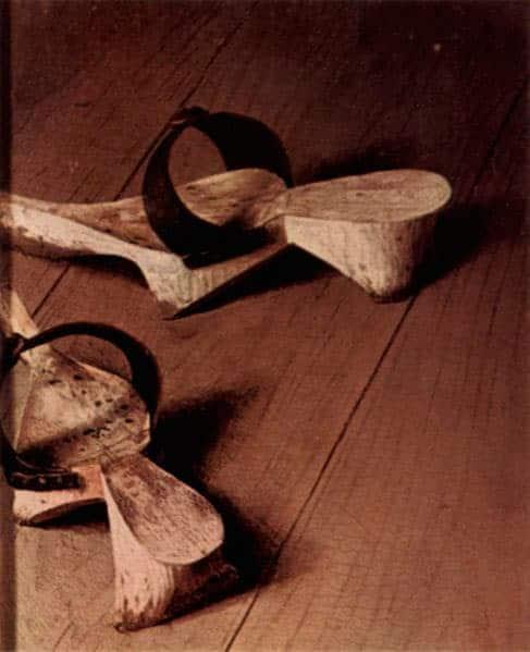 Fragmento del cuadro del matrimonio Arnolfini, tarima de madera.