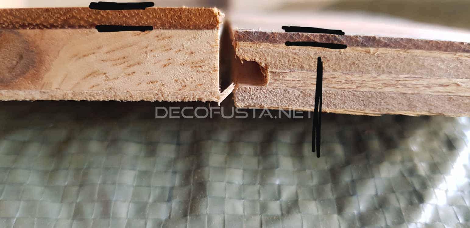 Grosor de la capa de madera de uso comparado con otro, estamos restaurando un parquet casi sin madera util