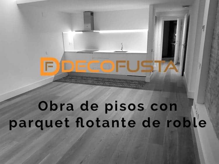 obra de pisos con parquet flotante de roble