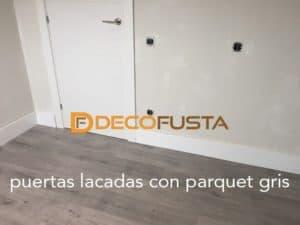 puertas lacadas con parquet gris