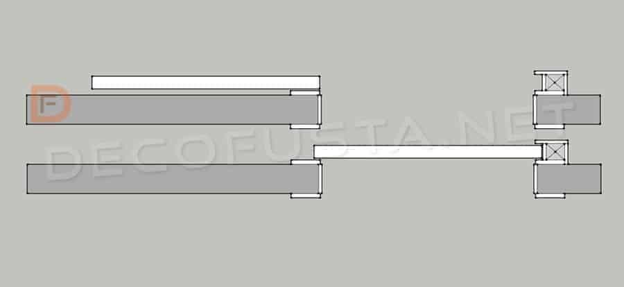 Sistema de puerta corredera con guía vista, pero adaptado el marco para instalar una cerradura.